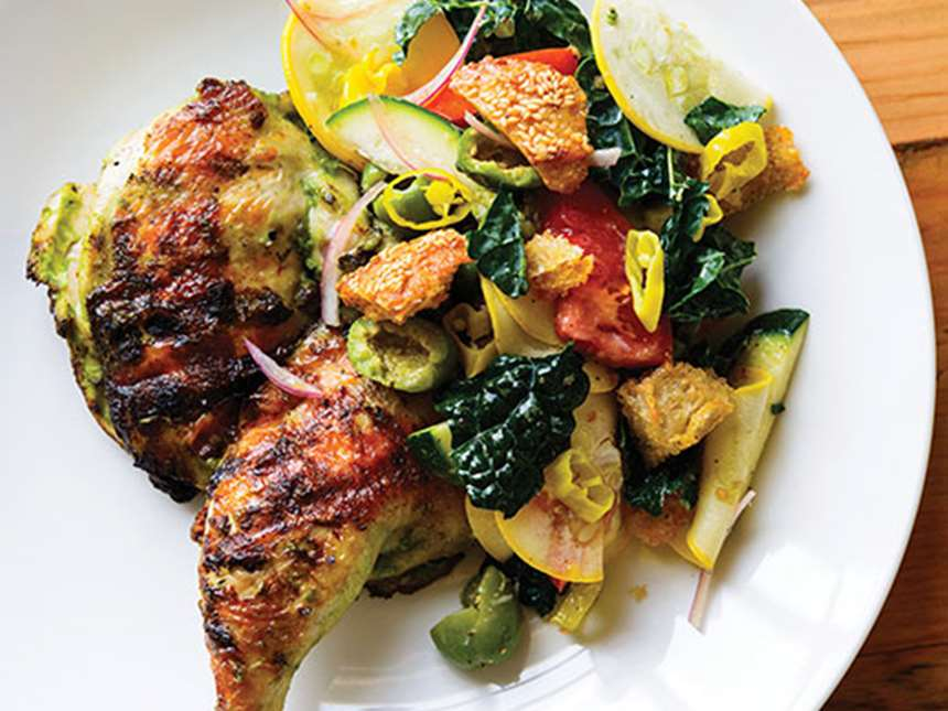 roasted chicken with summer vegetables